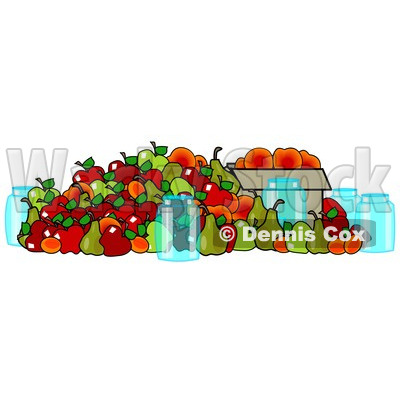 400x400 Clipart Of Canning Jars And A Pile Of Fall Harvest Fruits