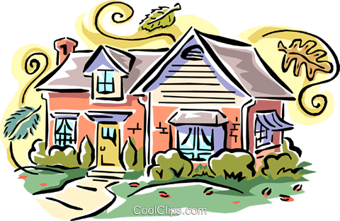 480x313 House Fall Scene Royalty Free Vector Clip Art Illustration