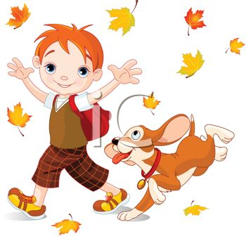 350x336 Cute Little Boy Playing In Fall Leaves With His Dog