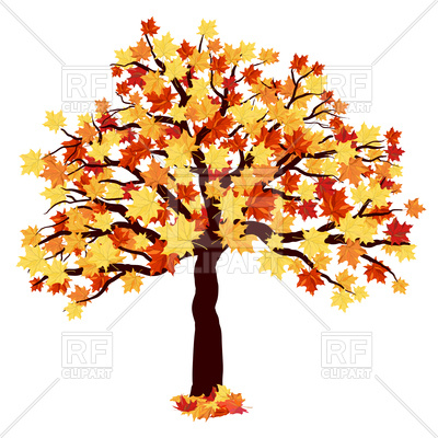 400x400 Autumn Maple Tree Royalty Free Vector Clip Art Image