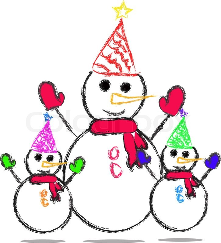 726x800 Happy Family Christmas Snowman Stock Vector Colourbox