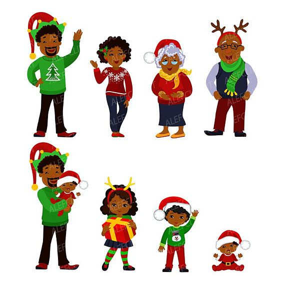 570x585 Christmas Family Clipart Family African American Christmas