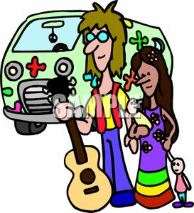 273x300 A Hippie Family With A Flower Van And An Acoustic Guitar Clip Art