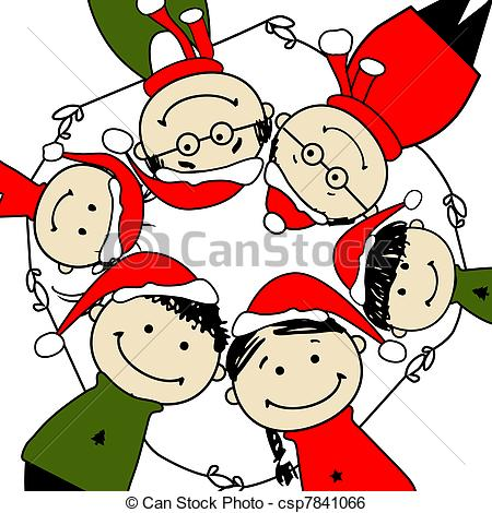 450x470 Merry Christmas! Happy Family Illustration For Your Design Clip