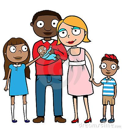 400x422 Mixed Family Clip Art Cartoon Vector Illustration Of A Caucasian