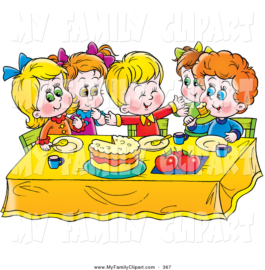 1024x1044 Clip Art Of A Colorful Group Of Children Eating Cake