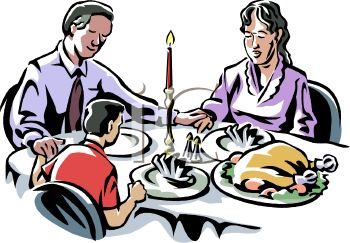 350x243 Royalty Free Clip Art Image Family Sitting Down To A Turkey Dinner