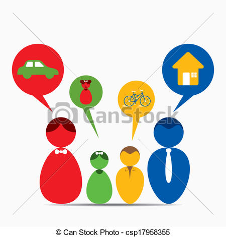 450x470 Family Dream Concept. Every Family Member Has Own Dream Clipart