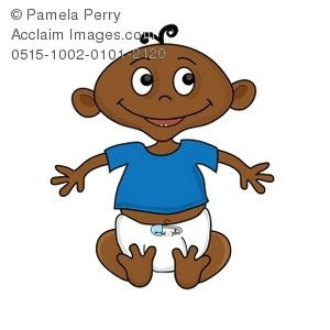300x300 Clip Art Illustration Of An African American Baby Sitting Up
