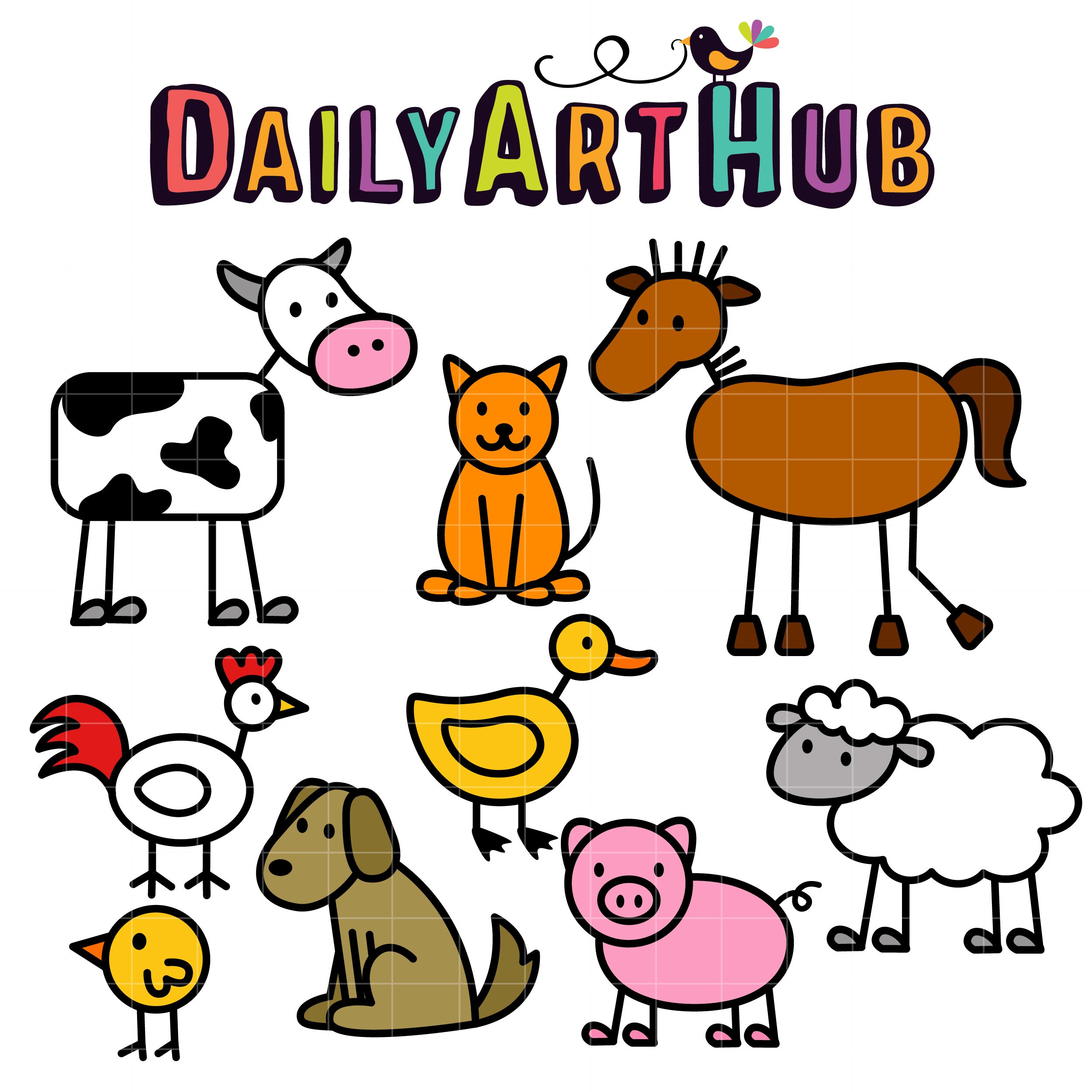 2500x2500 Stick Farm Animals Clip Art Set Slegs Hond Knk Kan Verwerk Word