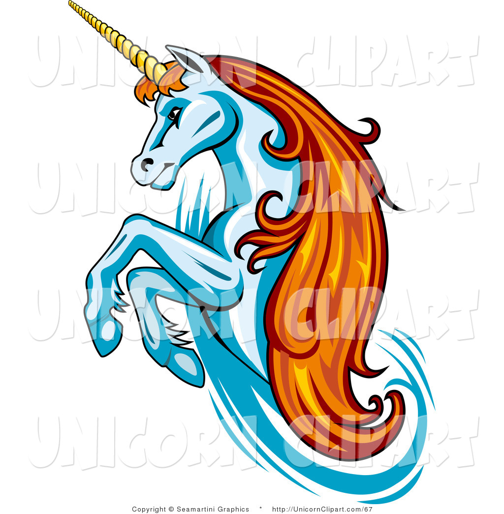 1024x1044 Fantasy Vector Clip Art Of A Rearing Orange Haired Unicorn By