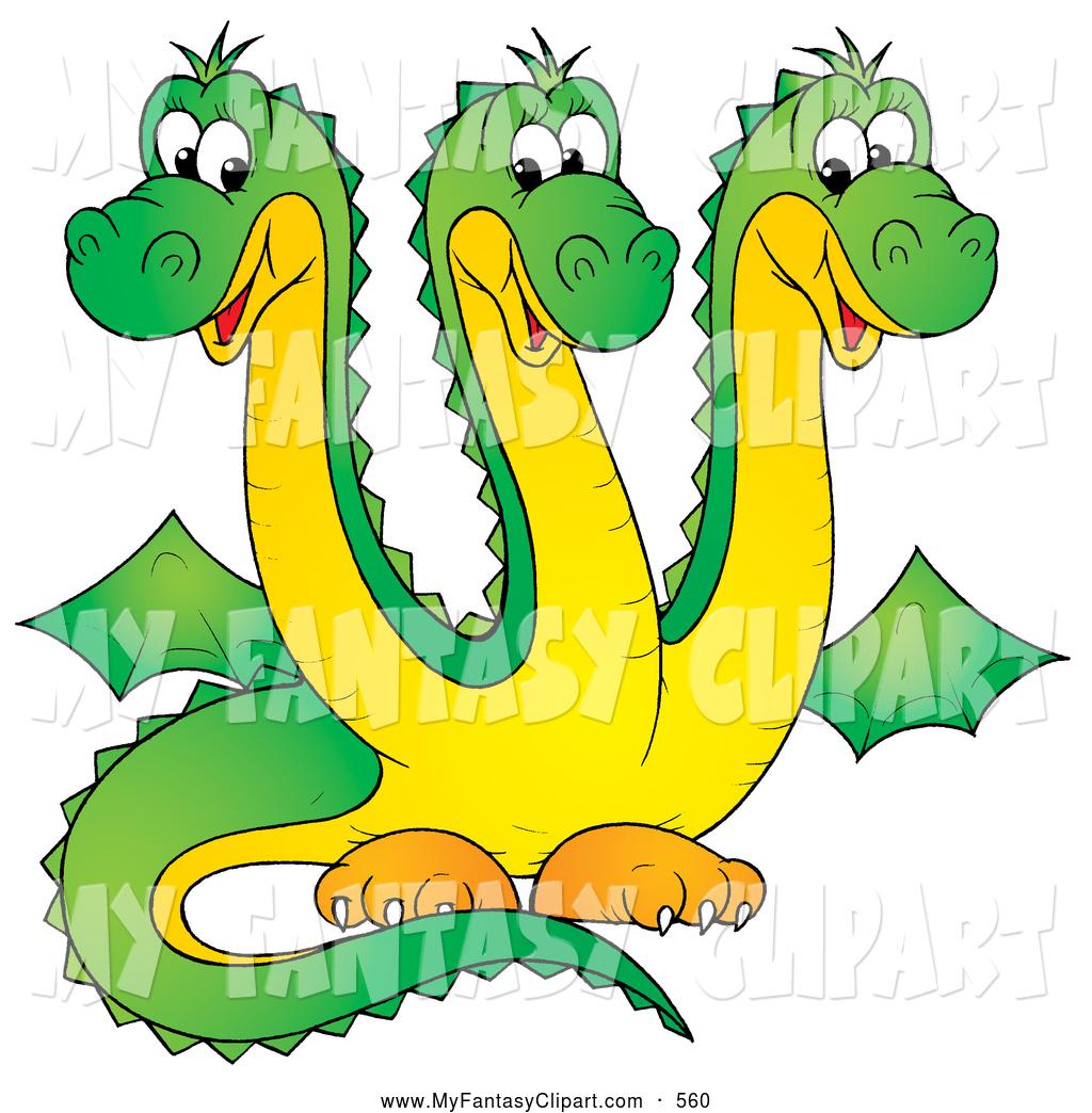 1024x1044 Clip Art Of A Cute Green Three Headed Dragon Hydra With Yellow