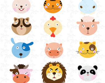 340x270 Cute Animal Faces Clipart Jungle Animals Faces Clipart Woodland