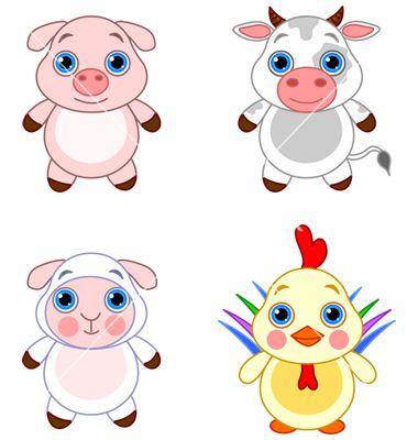 380x400 Cartoon farm animals vector VectorStock