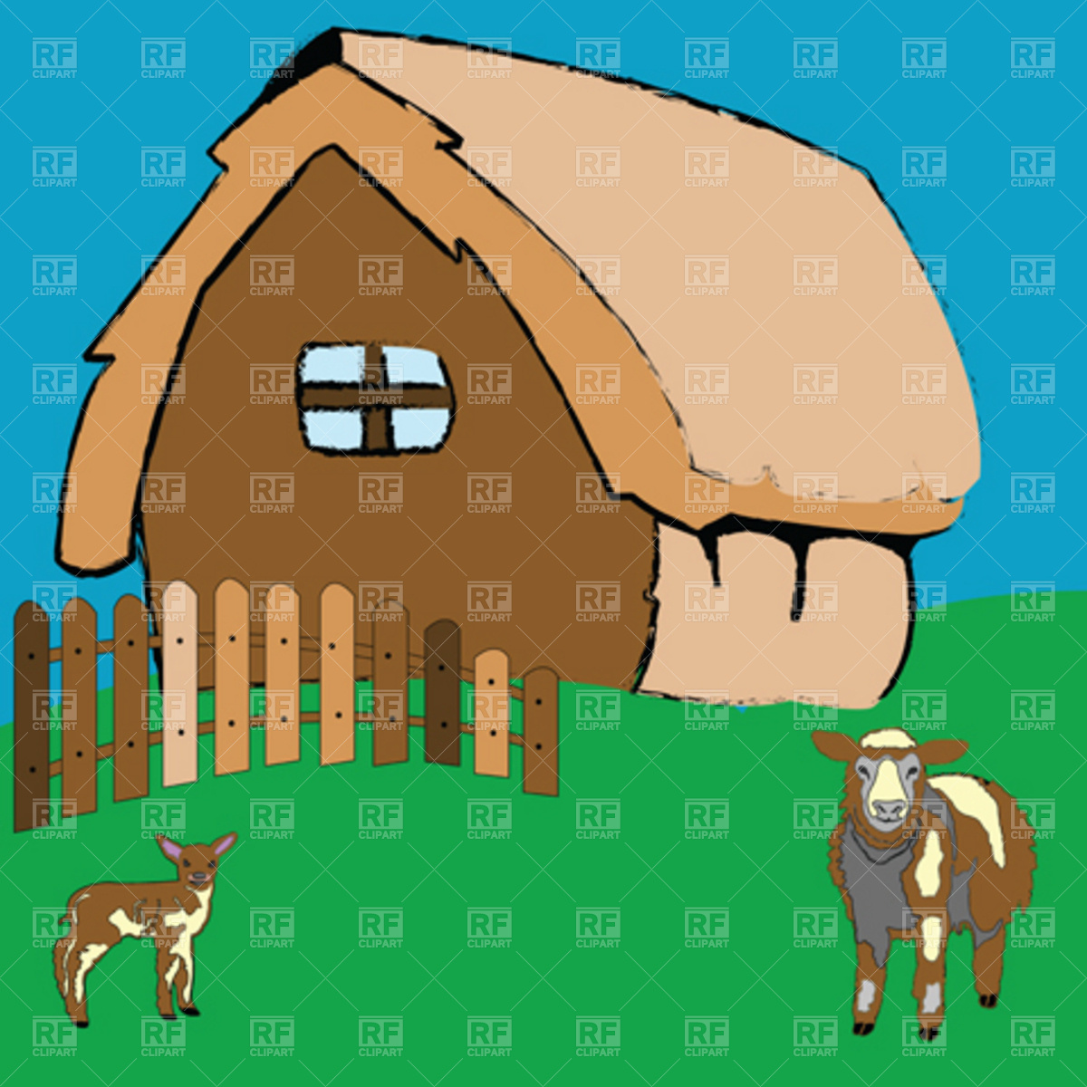 1200x1200 Village House With Farm Animals Royalty Free Vector Clip Art Image