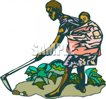 350x325 African Mother Working In A Field With Her Child On Her Back