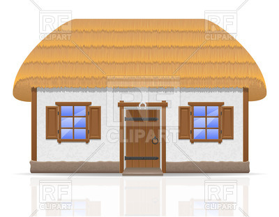 400x311 Ancient Farmhouse With A Thatched Roof Royalty Free Vector Clip
