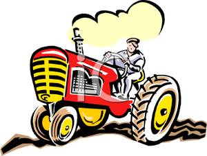 300x227 Farmer Driving A Tractor On The Farm Clipart Picture