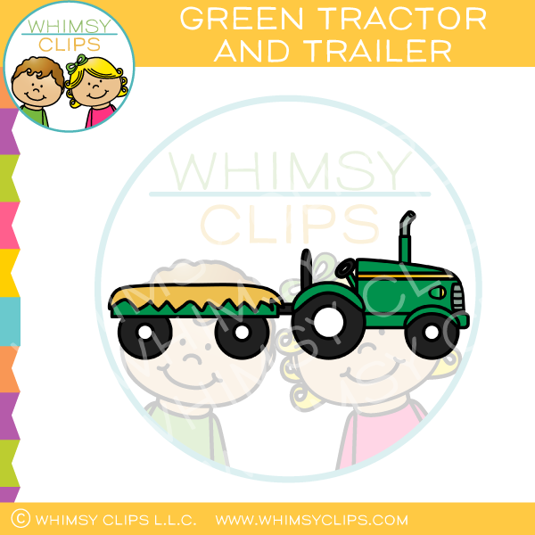 600x600 Green Farm Tractor And Trailer Clip Art , Images Amp Illustrations