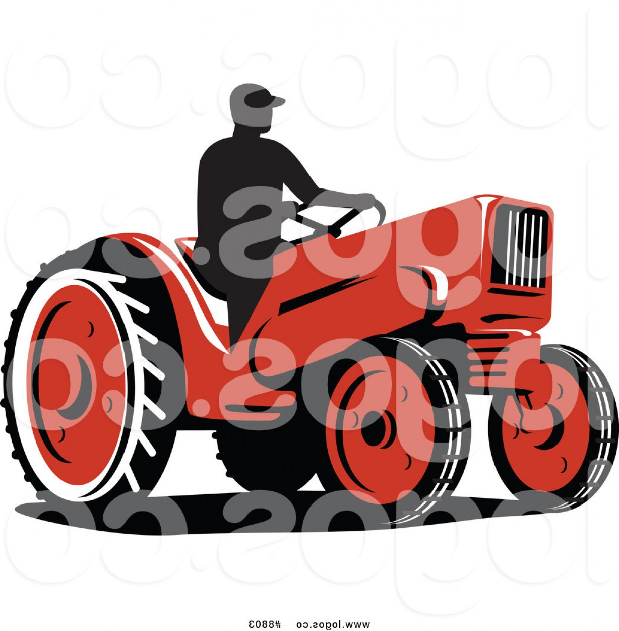 1228x1252 Royalty Free Clip Art Vector Logo Of A Silhouetted Farmer On A Red