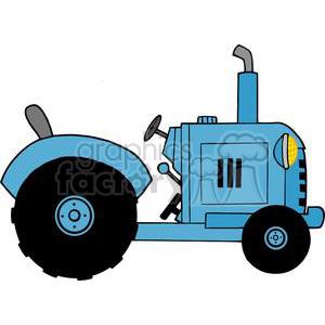 300x300 Royalty Free Vintage Blue Farm Tractor 379381 Vector Clip Art