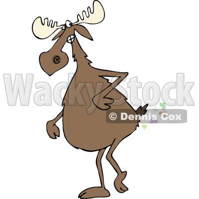 400x400 Clipart Of A Moose Walking Upright And Farting