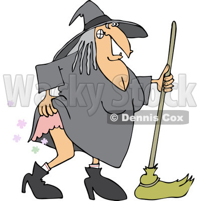400x400 Clipart Of A Witch Lifting Her Dress And Farting