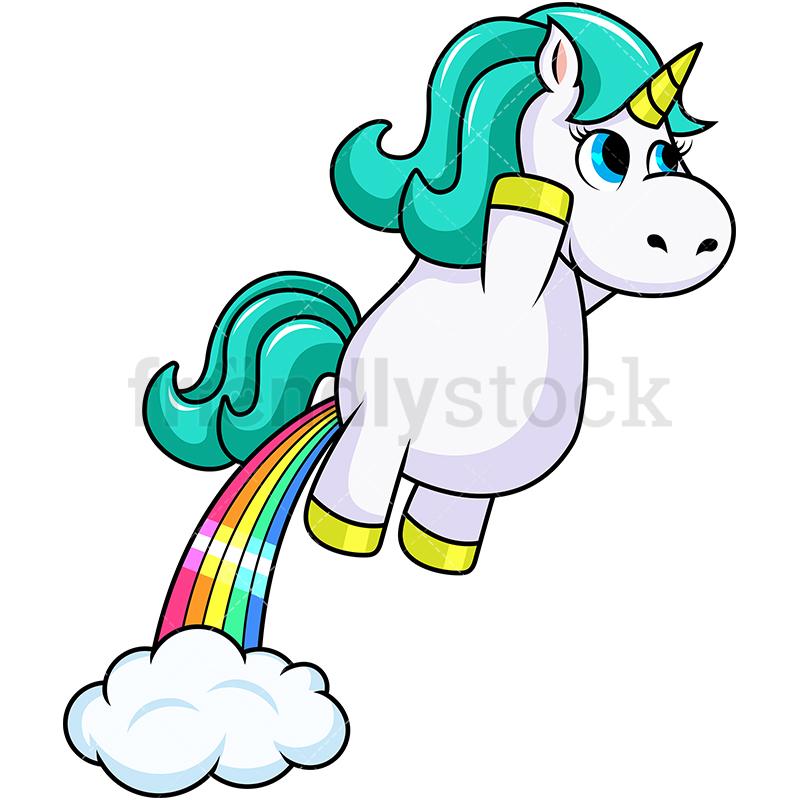 800x800 Unicorn Rainbow Fart Cartoon Vector Clipart
