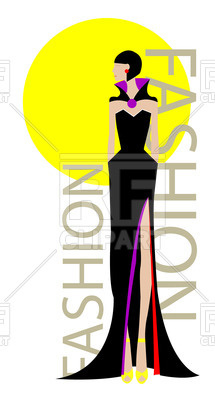 215x400 Slender Fashion Model In Black Dress Royalty Free Vector Clip Art