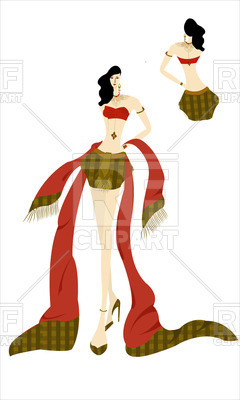 240x400 Thai Fashion Model With Red Scarf Royalty Free Vector Clip Art
