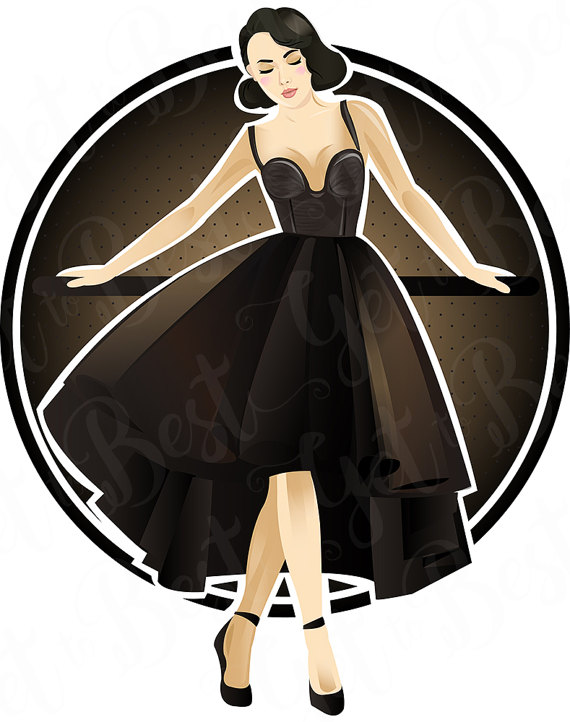 570x722 Woman In Black Dress, Clipart, Vector Art, Fashion, Fashion Women