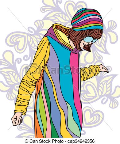 391x470 Colorful Image Of Fashion Girl On Floral Background. Vector