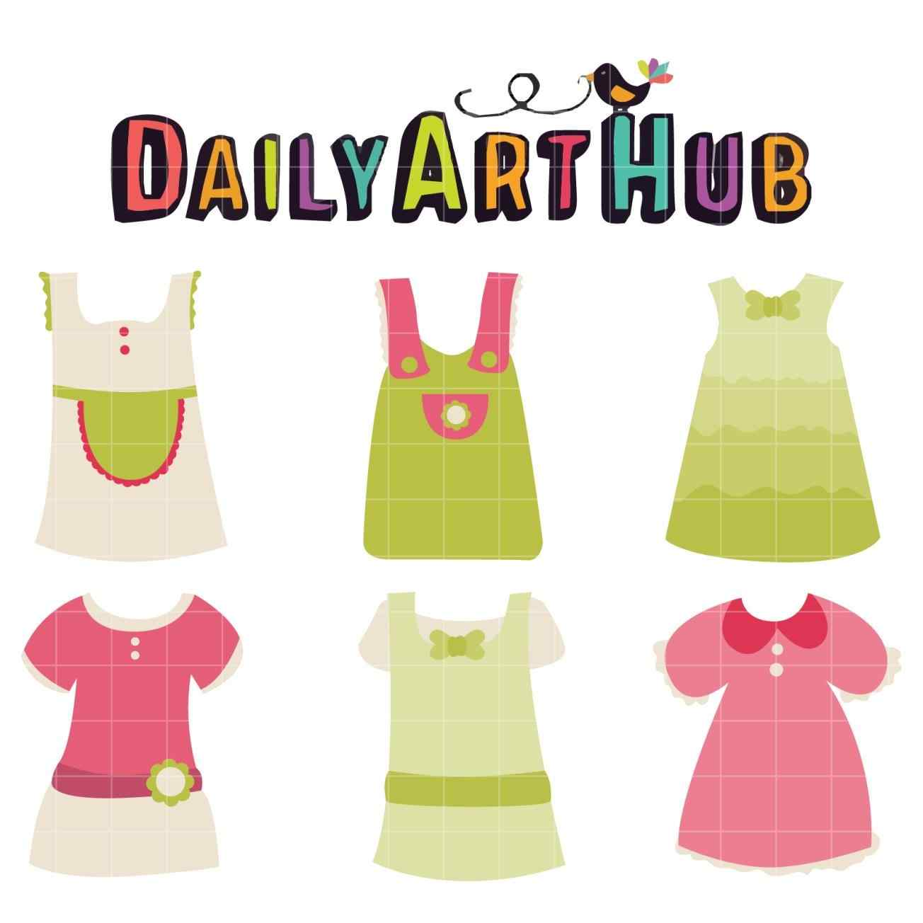 1304x1304 Girls Clipart Childrens Summer Dresses Collection Cute Stock