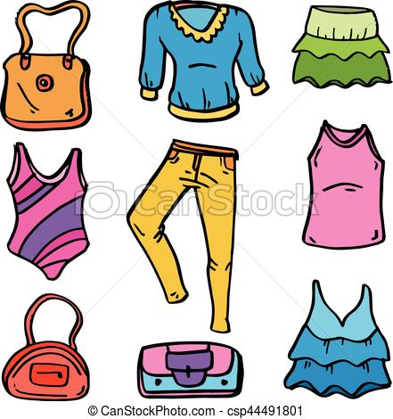 441x470 Doodle Of Women Clothes Fashion Vector Illustration Vector Clipart
