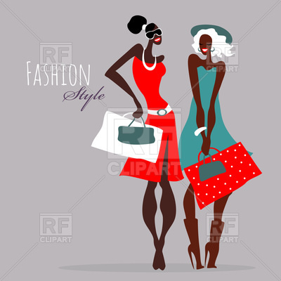 400x400 Beautiful Fashion Women With Shopping Bags Royalty Free Vector
