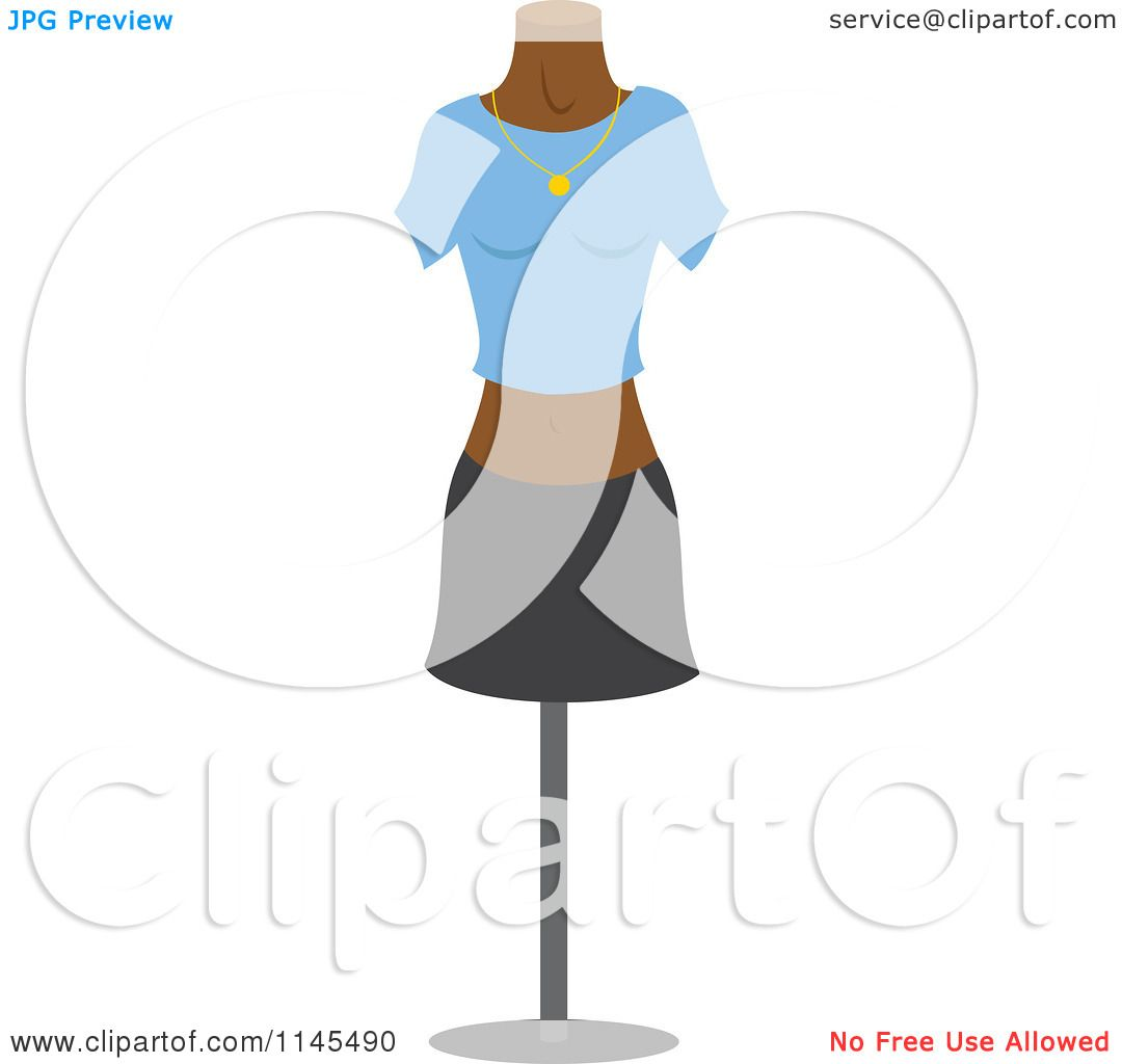 1080x1024 Clipart Of A Fashion Design Mannequin With A Shirt And Skirt