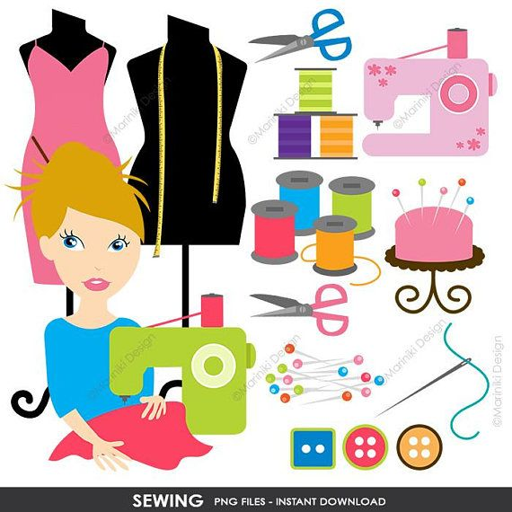 570x570 Sewing Clipart, Sewing Machine Clipart, Crafter Fashion Designer
