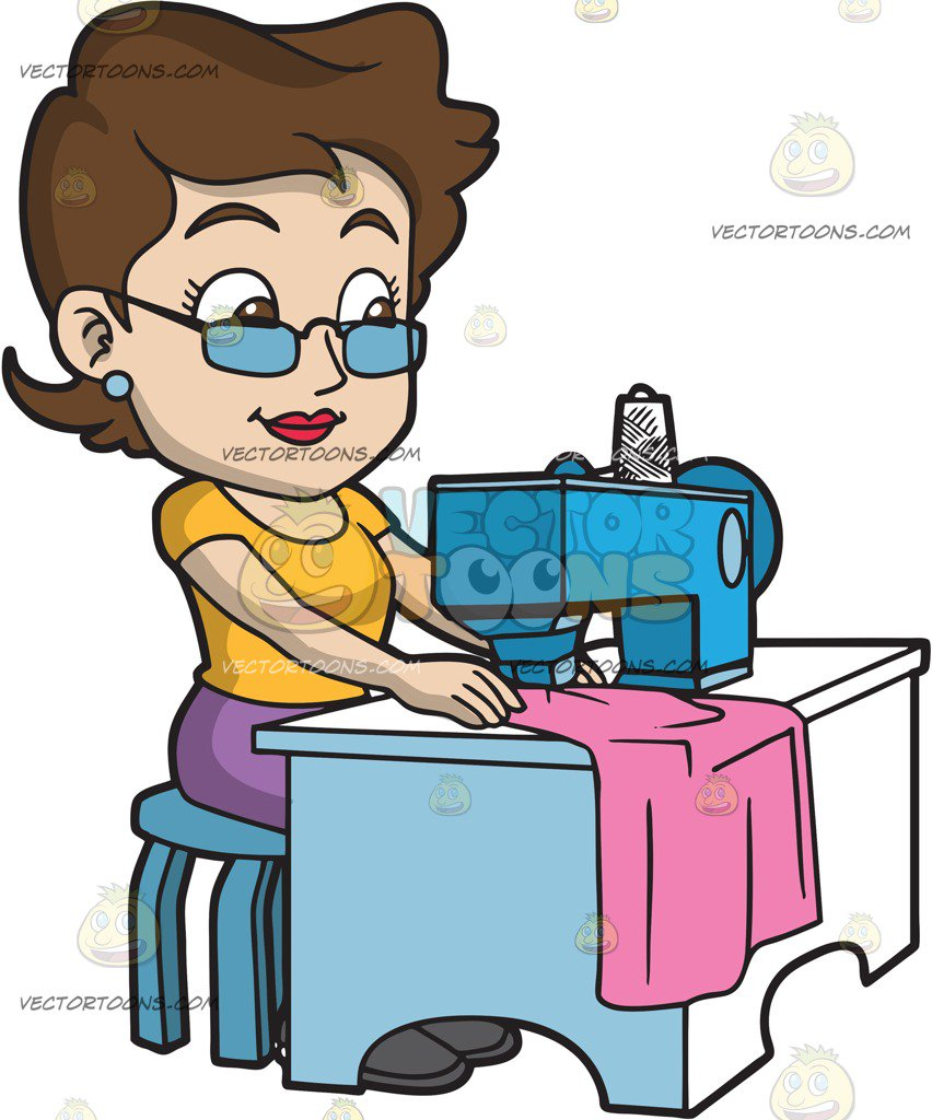 852x1024 A Fashion Designer Sewing Her New Clothes Cartoon Clipart Vector