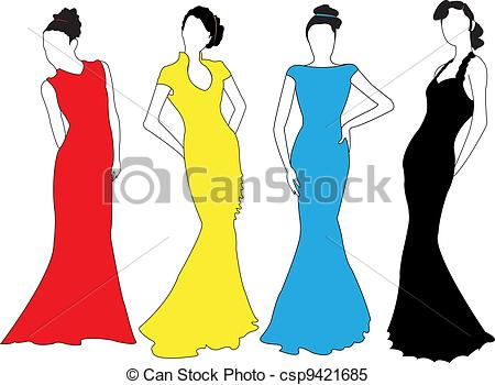 450x350 Fashion Models. Fashion Models In Silhouettes. Clipart Vector