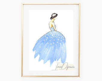 340x270 Princess Nursery Room Wall Art Blue Wall Decor Print Fashion