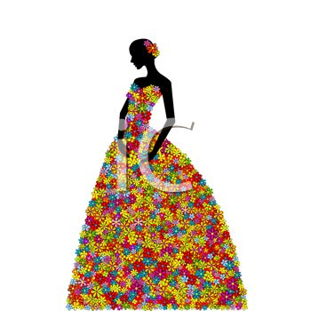 350x350 Royalty Free Clip Art Image Silhouette Of A Woman Wearing A Dress