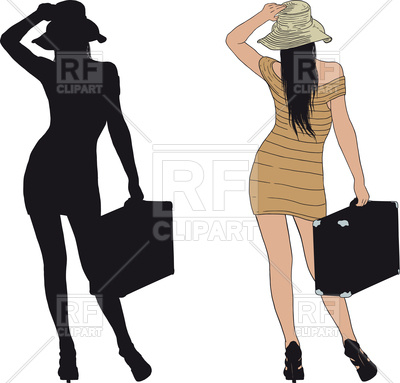 400x383 Woman In A Short Dress With Old Suitcase