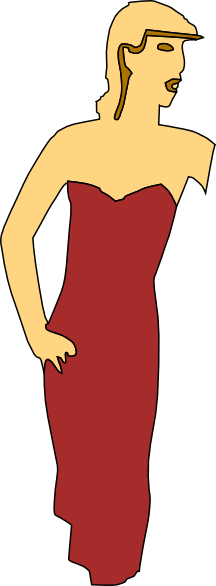 216x586 Cartoon Lady Wearing Fashion Dress Png, Svg Clip Art For Web