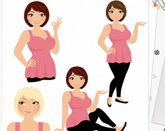 340x270 Fashion Blogger Clipart, Cute Planner Girl, Clipart Beauty Blog