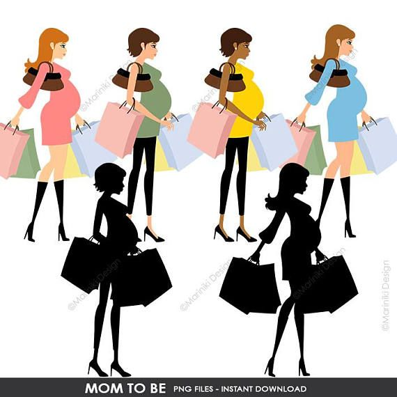570x570 Mom To Be Clipart, Pregnant Woman Mother Shopping Silhouette Clip