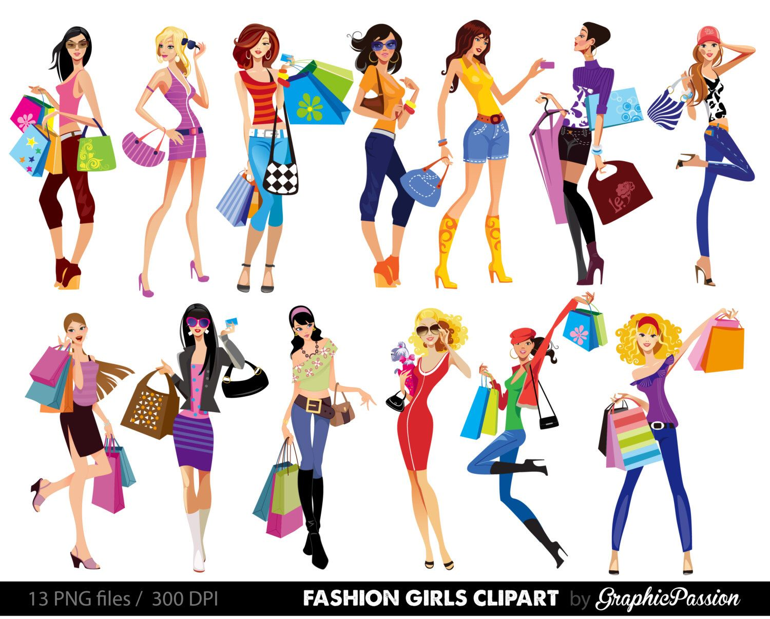 1500x1206 Shopping Girl Digital Images. Stylish Shopping Girls Clipart
