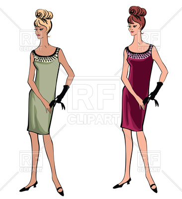 366x400 Stylish Fashion Girls (1950's 1960's Style) Royalty Free Vector