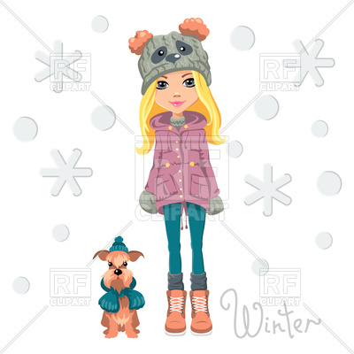400x400 Cute Beautiful Fashionable Girl In Funny Hat With Dog Royalty Free