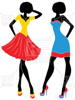 300x400 Silhouette Of Graceful Fashion Models In Short Colorful Modern
