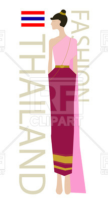 215x400 Thai Fashion Model Royalty Free Vector Clip Art Image